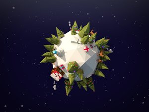 3D asset cartoon christmas planet