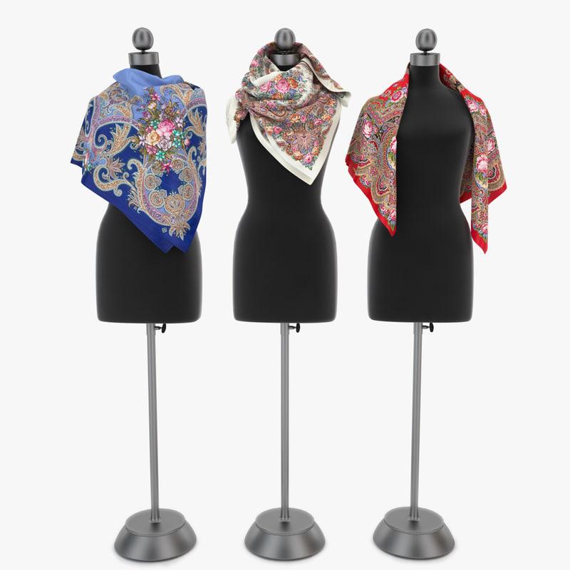russian scarves 3D model
