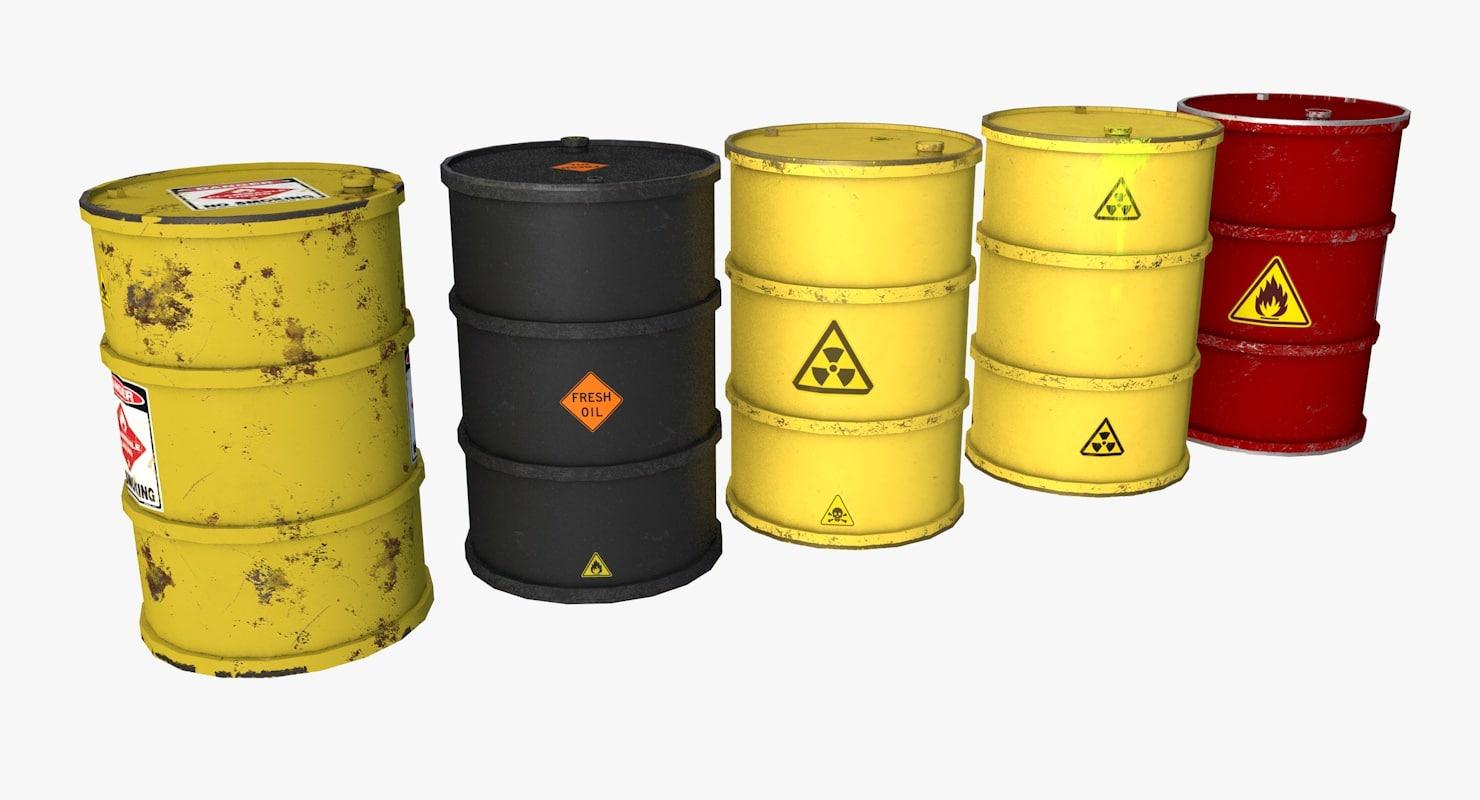 3D model metal barrels