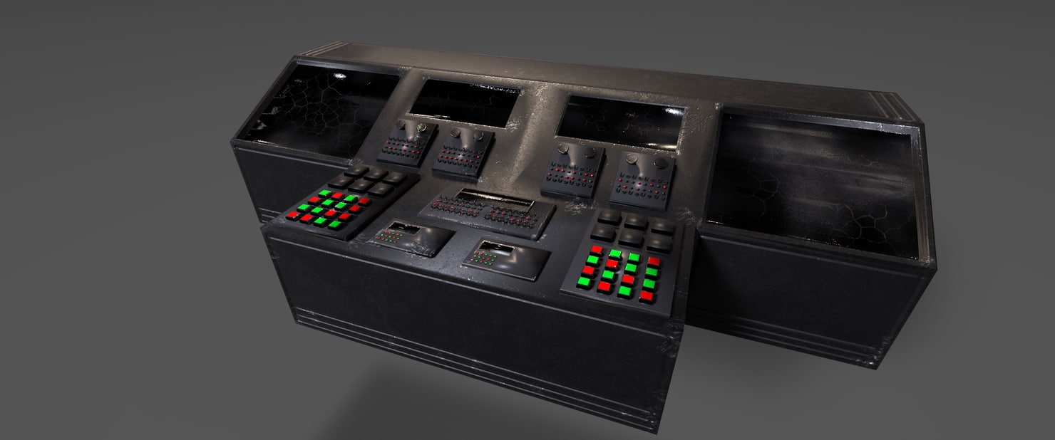 3D damaged command console