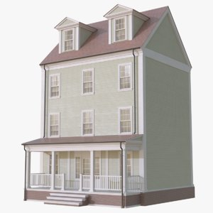 3D colonial townhouse 1 model