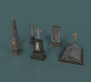 3D model gameready gravestones pack 2