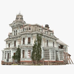 old abandoned house victorian 3D