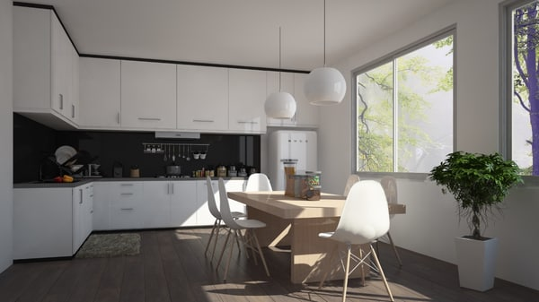 3D white kitchen model