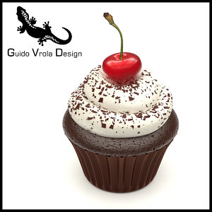 sweet cupcake chocolate cherry 3D model