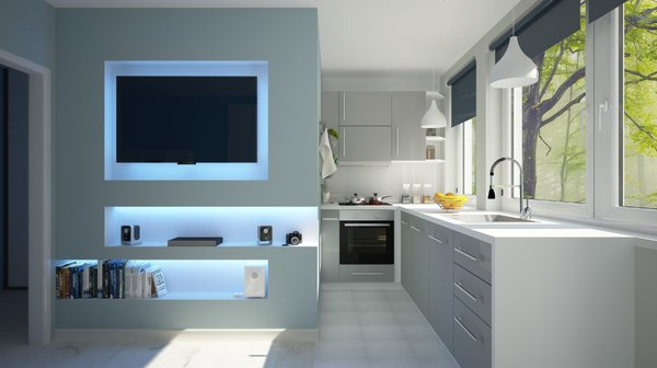 3D idea kitchen living model