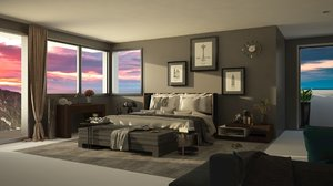 3D sunset bedroom