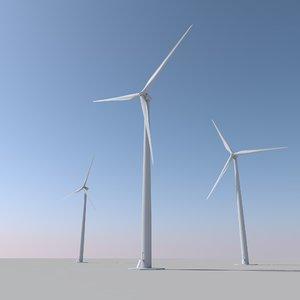 3D 100m wind turbine model