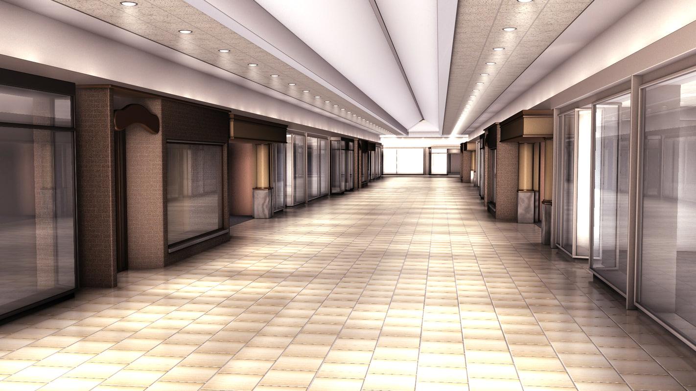 3D mall scene stores -