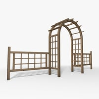 3D wooden garden arch model