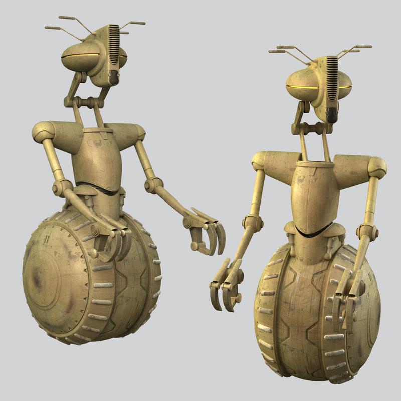3D star wars rickshaw droid