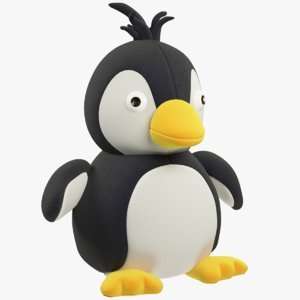 3D model stuffed penguin