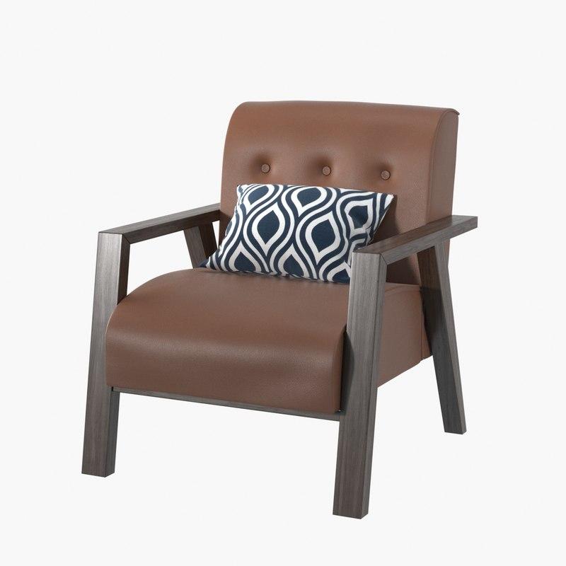 3D realistic armchair pillow model