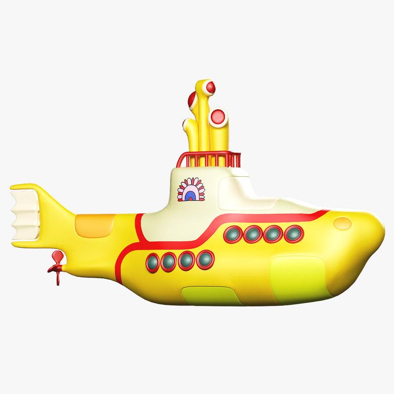 3D yellow submarine model