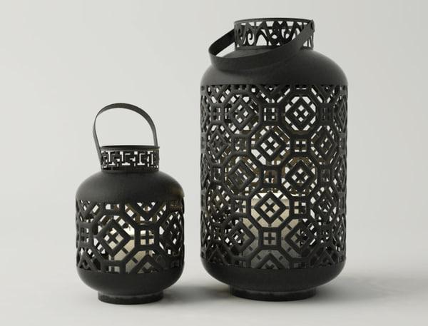 black metal lanterns 3D model