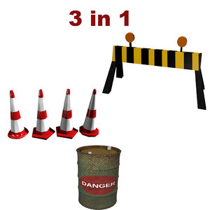 3D barrel cone barrier
