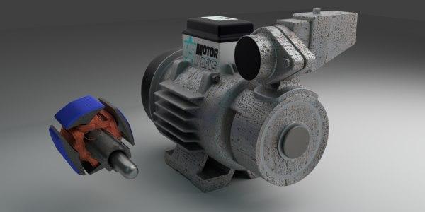 3D pump electric motor model