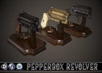 pepperbox revolver 3D model
