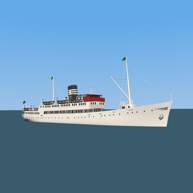3D model vintage ferry boat