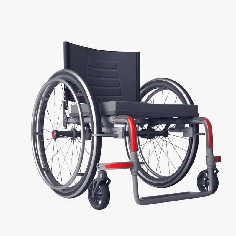 realistic wheelchair 3D model