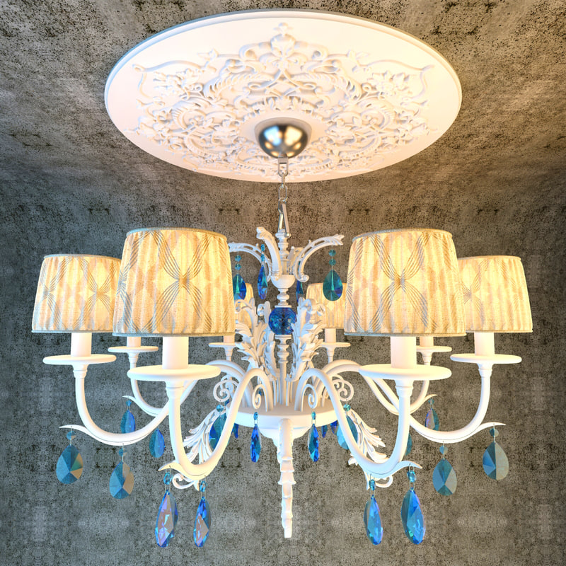 bedroom classical chandelier lights 3D model