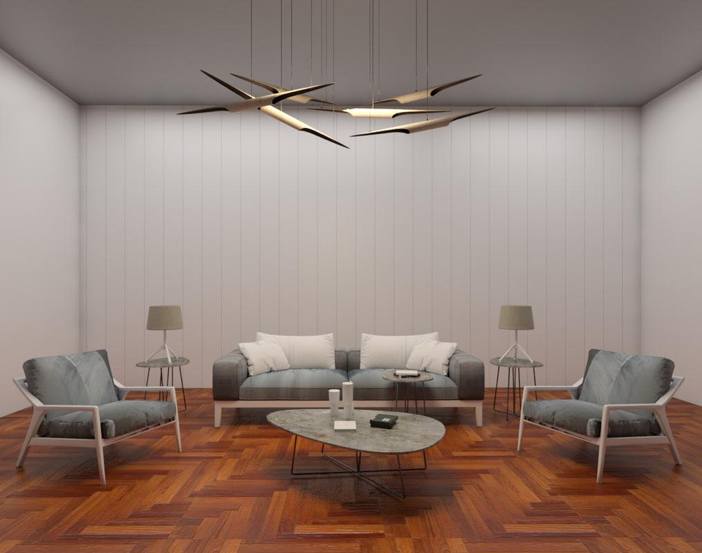 modern living room revit 3D model