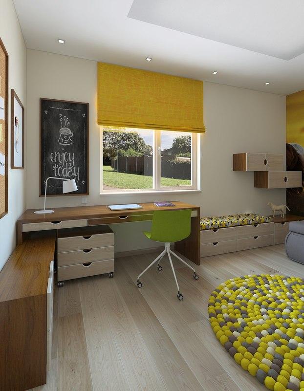 3D children room yellow romance