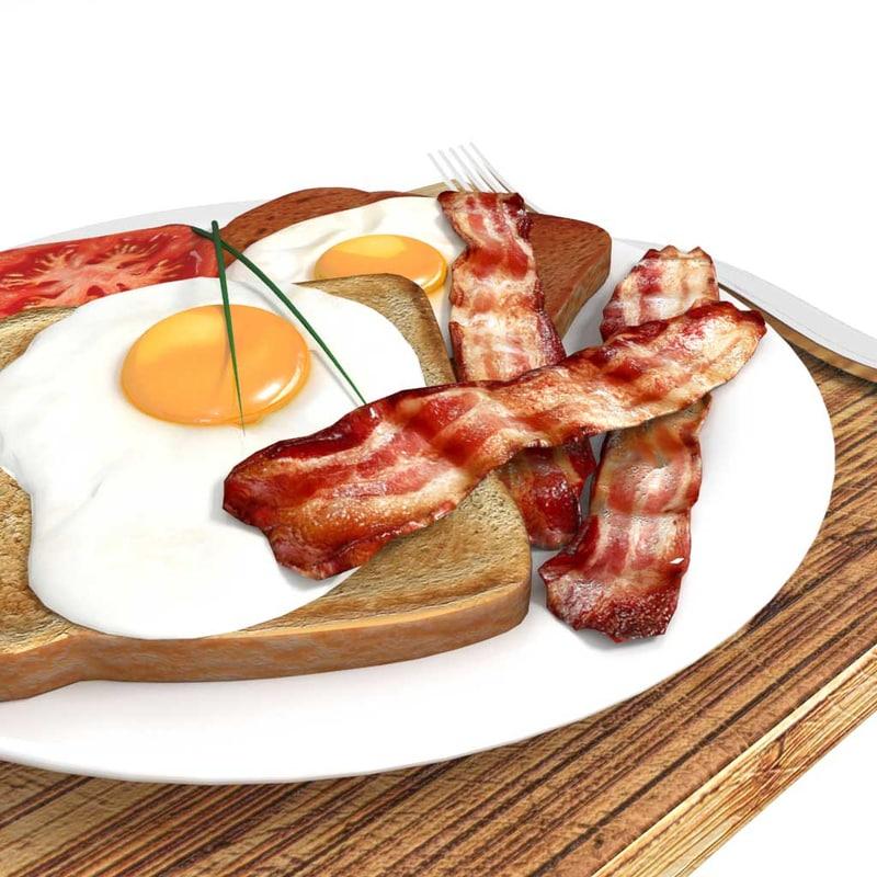 3D model bacon egg breakfast