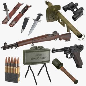 3D war ii equipment wwii model