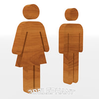3D model bathroom doors signs