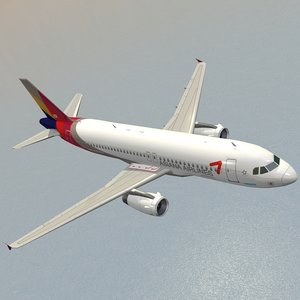 3D model airbus a320-232 asiana airlines