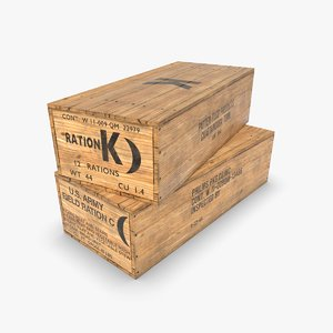 3D model army wooden crate c