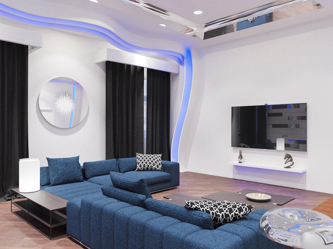 3D tech living room interior model