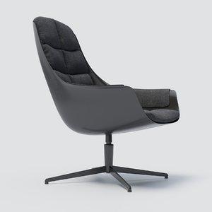 3D model mybird fabric armchair sits