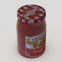 3D strawberry jam jar smuckers