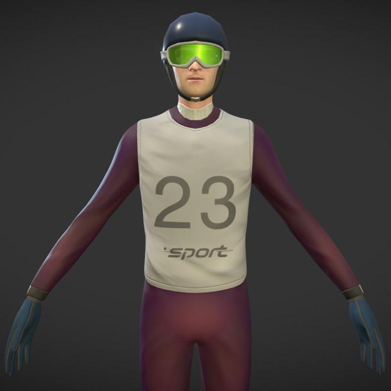 3D model character ski jumping animations
