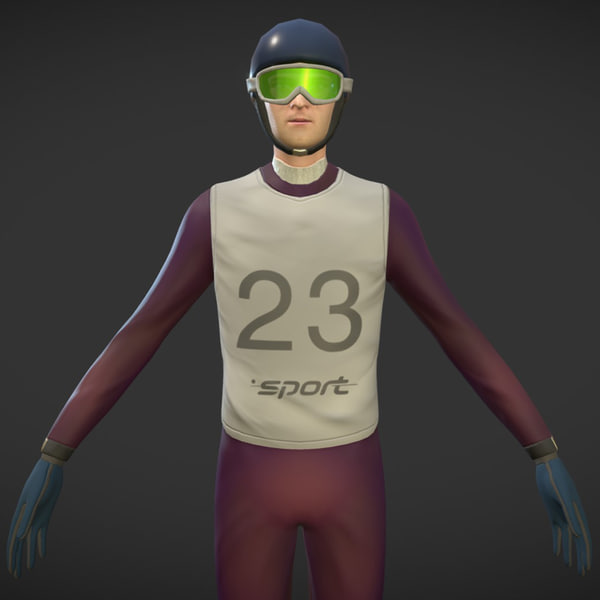 3D model character ski jumping animations