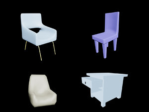 3D pack phone chairs model