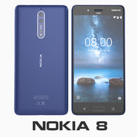 nokia 8 tempered blue 3D