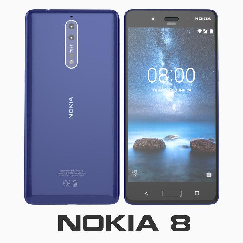 3D nokia 8 polished blue model
