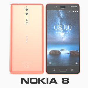 3D nokia 8 polished copper model