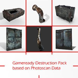 3D gameready destruction pack photoscan