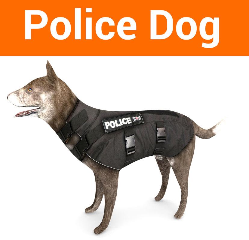 3D police german shepherd dog