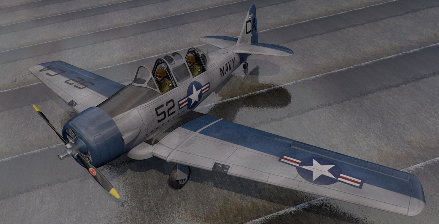 plane north american t-6 3D
