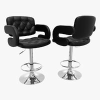 Tufted Leather Barstool With Armrests