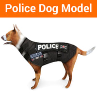 police german shepherd dog 3D