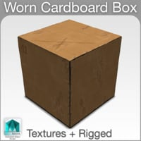3D cardboard box worn rigged model
