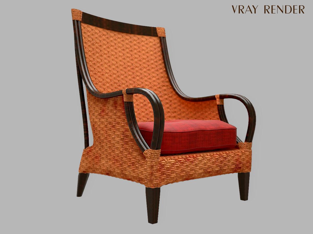 brown wicker chair 3D model