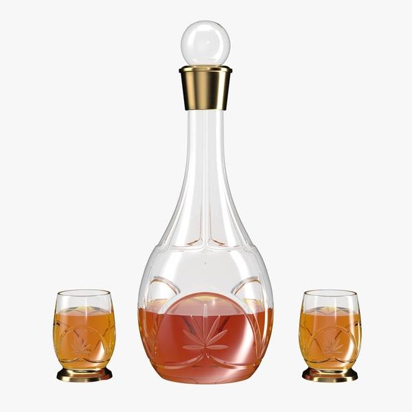 3D realistic cognac crystal glass