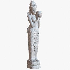 3D bali statue woman 1m